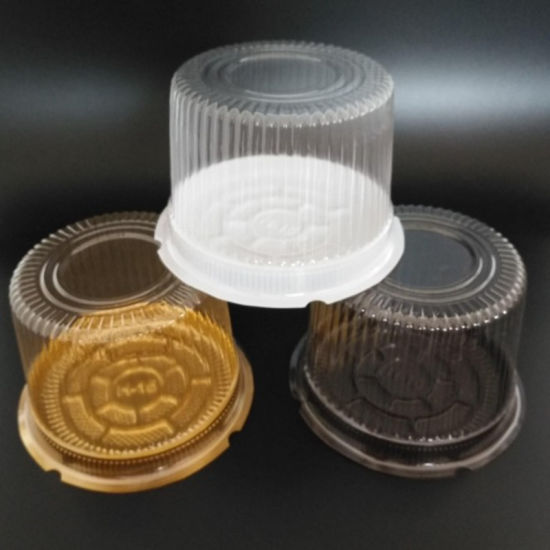 Plastic Round Cake Box with Clear Lid Gold Bottom