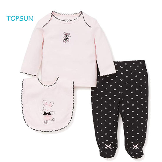 Newborn Infant Baby 3 PCS Clothes Kids Girl Outfits Gifts Layette Sets with Bib and Animal Printed