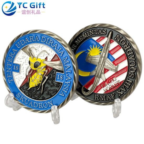 Factory Custom Us Military Army Metal Art Crafts Challenge Coin 3D Soft Enamel Aircraft Model Sport Award Personalized Products Engraved Name Tag Souvenir Coins