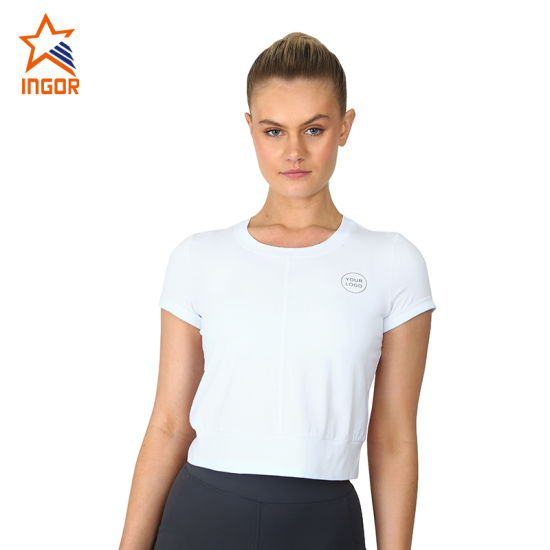 Wholesale Cotton White Wild T-Shirt Comfortable and Flexible Sportswear Yoga Clothes pictures & photos