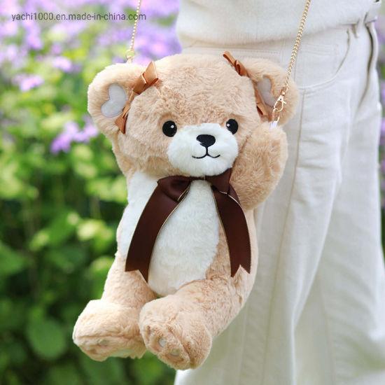 China Hot Sale Lovely Teddy Bear Plush Shoulder Bag Kids Bag