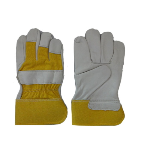 Golden Cow Grain Leather Gloves with Patched Palm