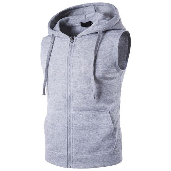 c824886e7f2eb0 Men Wholesale Pullover Zip up Fleece Dri Fit Running Sleeveless Hoodies