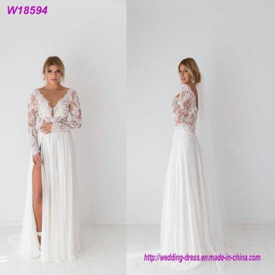 89f28f9f444 China Hot Sales Long Sleeves Bride Dress Elegant Lace Wedding Dress ...