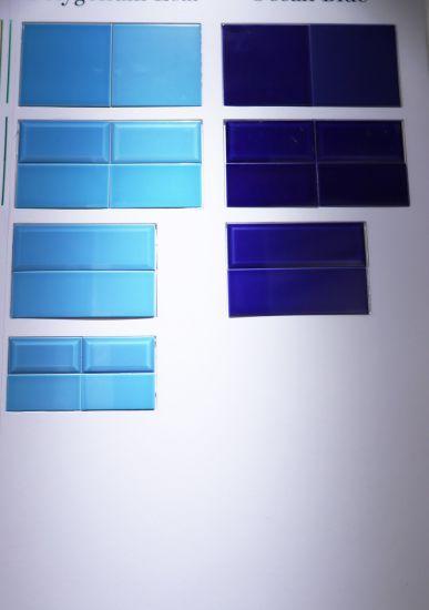 China Blue Green 3x6inch 7 5x15cm Glossy Glazed Ceramic