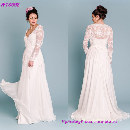 Hot Sales Long Sleeves Bride Dress Elegant Lace Wedding Dress pictures & photos