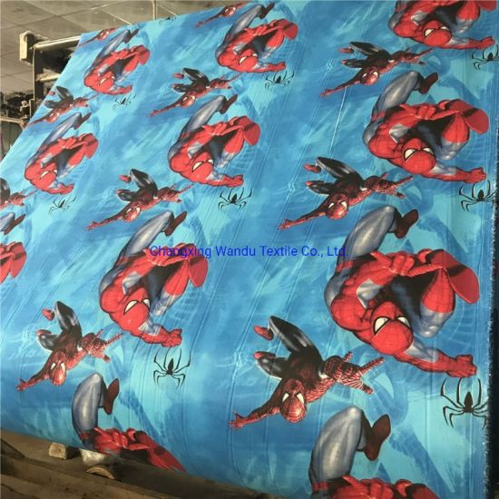 Spiderman, Prince Frog, Hello Kitty, Paris Tower Print, 100% Polyester Brushed Fabric, Good Quality and Good Price