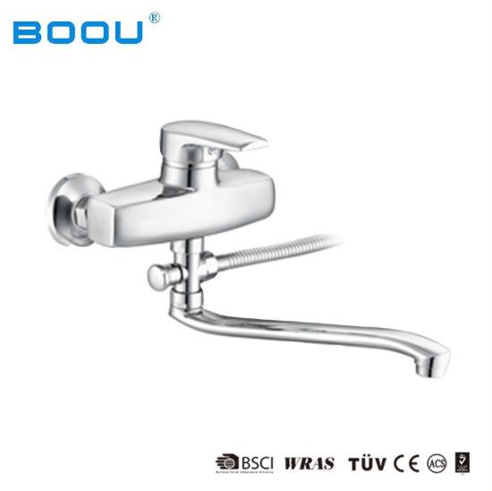China Boou Hot Sale Bathroom Faucet Double Hole Mixer Curved Outlet - Bathroom faucet outlet
