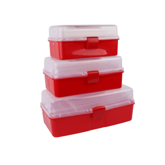 Artist Essential 4 Colors Plastic Art Supply Craft Storage Tool Box with Adjustable Tray