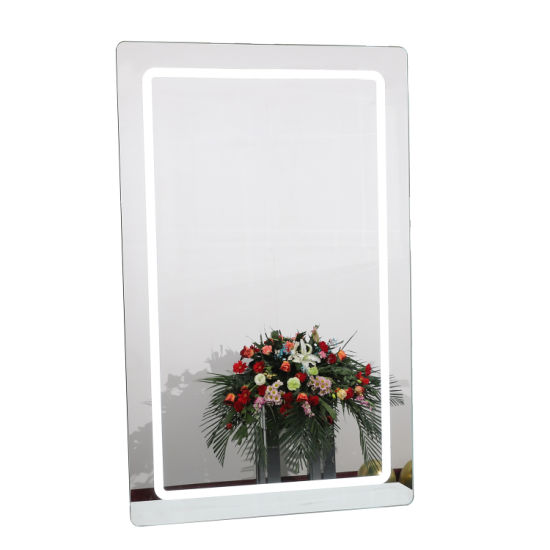 High Quality Wall Lighted Mirror Touch Sensor LED Mirror Silver Bathroom Decorative Makeup Mirror