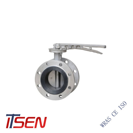 Stainless Steel Rubber Coat Double Flanged Butterfly Valve for Pn10/Pn16