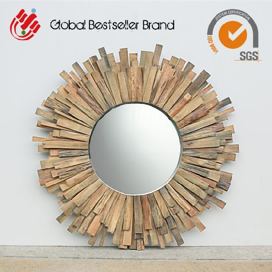 Natural Wood Home Decor Wood Wall Mirror (LH-M170709) pictures & photos