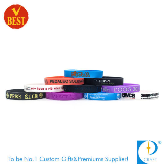 China Factory Wholesale Customized Logo Silicone Wristband for Activity and Publicity