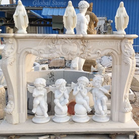 Hand Carved Beige Marble Fireplace Mantel with French Design (GSMF-602) pictures & photos
