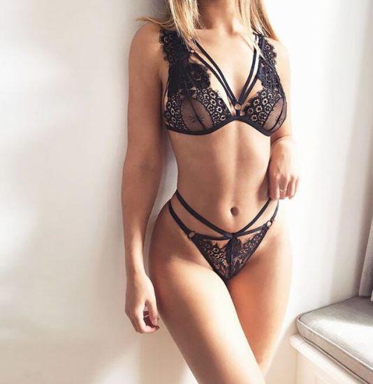 Sexy Harness Eyelash Bra Panty Set Hot Girl