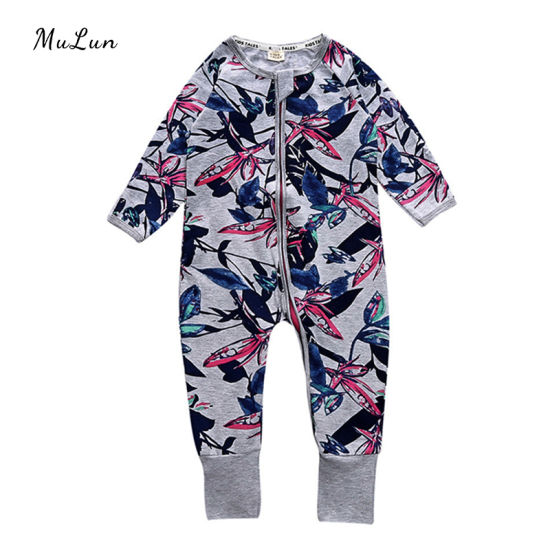 New Spring Long Sleeve Baby Romper Boys and Girls Baby Solid Graphic Jumpsuit