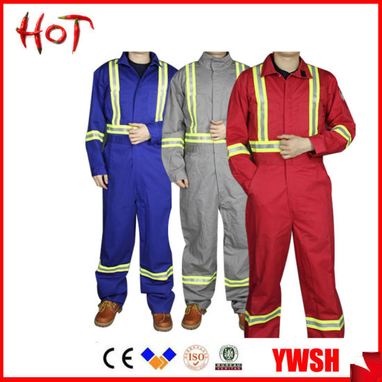 Flame Retardant Suit Fire Resistant Suit One Piece Safety Coverall with Reflective Tape pictures & photos