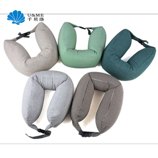 Foam U Shape Office Memory Neck Pillow with Buckle pictures & photos