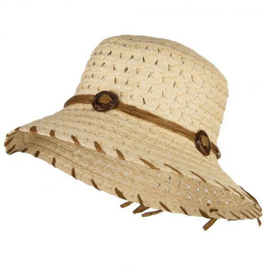 China Fashion Women's Coconut Buckle Straw Paper Bucket Sun Hat