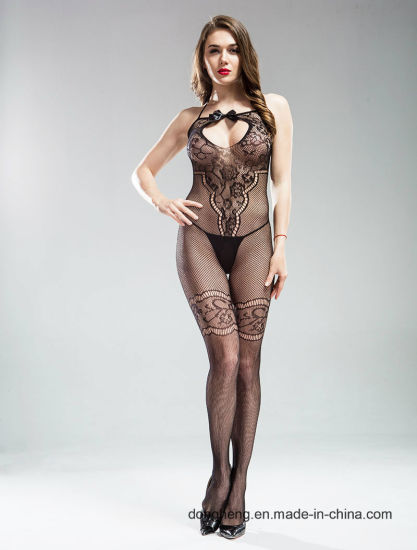 Sexy Women's High Stretch Bow-Tie Flowery Jacquard Fishnet Bodystocking Open Crotch Lingerie