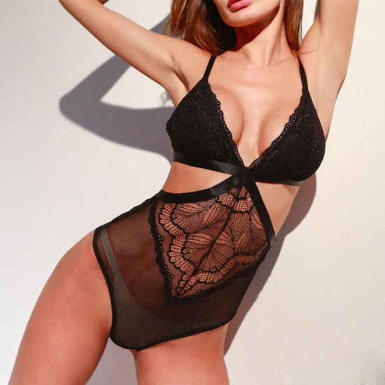 Sexy Lace Bodysuits Deep V Neck One Piece Sexy Lingerie Women