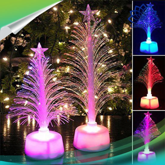 party supplies multicolor led lighting mini christmas tree fiber lights for christmas promotional gift