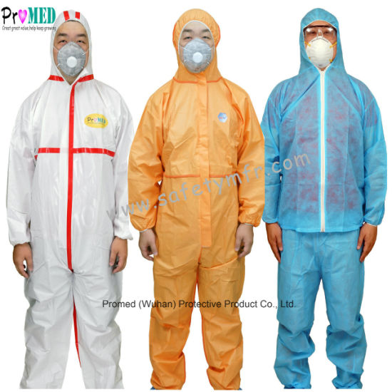 White/Blue Impervious Waterproof Type 5/6 Protective Clothing Microporous PP/SF/PE industry Lab chemical Safety Micro Film SMS Nonwoven Disposable Coverall