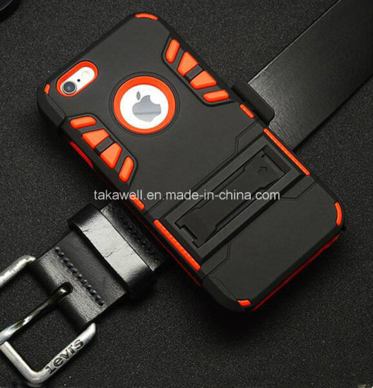 2016 New Product PC Silicone Tire Cell Phone Armor Cases with Stand for iPhone 5 6 Case for Samsung S6 S7 Case pictures & photos