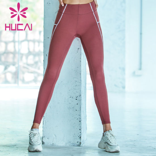 2020 Custom Women Yoga Pants Flatlock Stitching Fitness Leggings