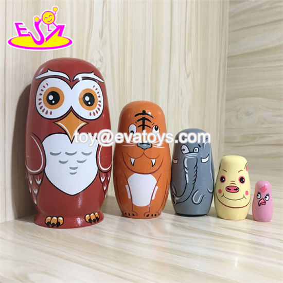 2018 Top Fashion 5 in 1 Cartoon Wooden Owl Nesting Doll for Kids W06D103 pictures & photos