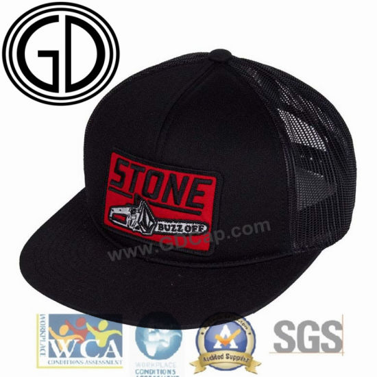 fa2a252dfb Wholesale Black Polyester Foam Snapback Hat Trucker Cap with Embroidery  Badge