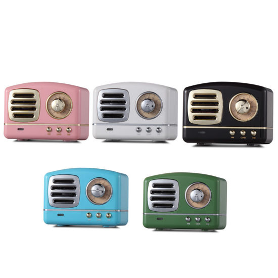 Wholesale Mini Retro Wireless Active Audio Bluetooth Speaker Creative Gift Sound Box with TF Card