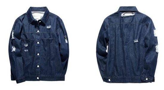 4883bf5e04 Men Washed Jeans Coat Ripped Male Denim Jacket