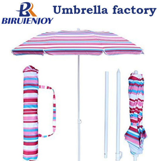 6FT UV Protection Red Stripe Polyester Foldable Tilting Beach Sun Umbrella with Sand Anchor and Portable Carry Bag