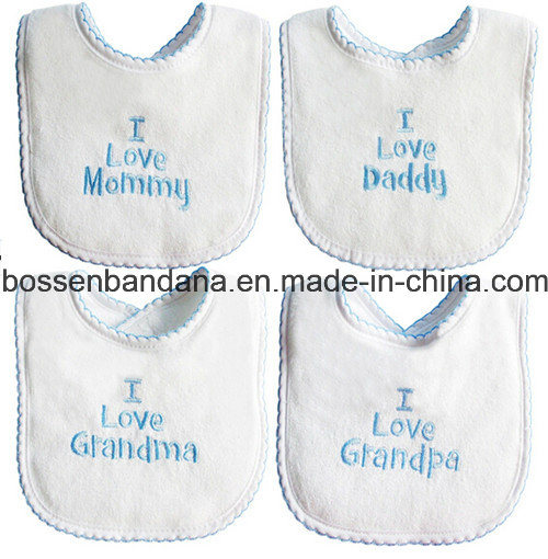 Customized Design Logo Embroidered White Cotton Terry Promotional Customized Baby Bibs pictures & photos
