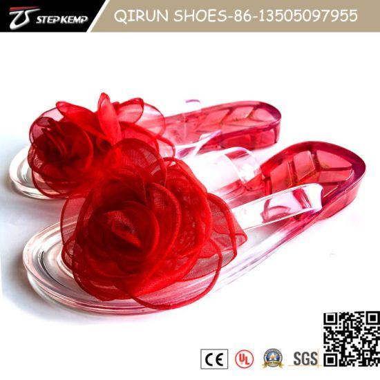 New Fashion Flower Flat Flip-Flop Lady Slide, Jelly Slipper 20s5014