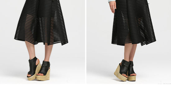 Black Striped Mesh Overlay MIDI Skirt with High-Heeled Shoes pictures & photos