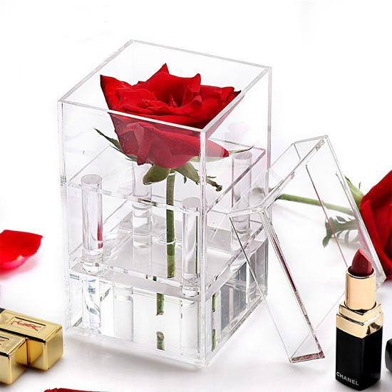 Customized Clear Acrylic 1 Rose Packaging Plexiglass Flower Box pictures & photos