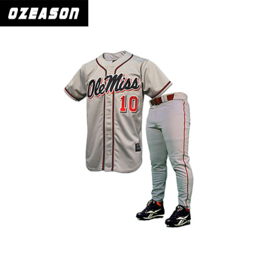 Customized Professional Plain Polyester Men Baseball Jerseys (B023)