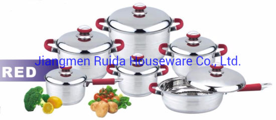 12PCS Stainless Steel Cookware Set with Stainless Steel Lid with Red Silicone Handle