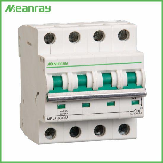 Meanray Mrll7 PV 440V 550V 1000V 1200V MCB Non-Polarity DC Air Mini Circuit Breaker 32A 63A MCB