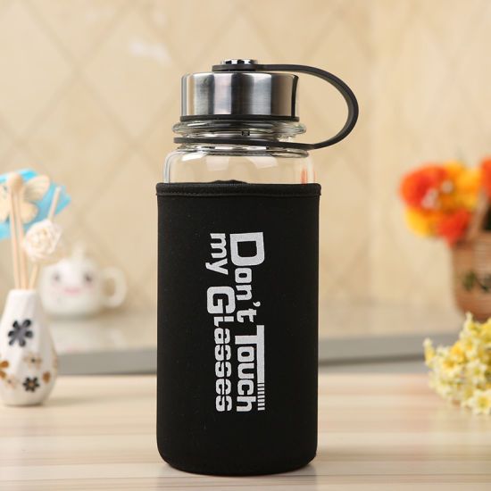 Custom Coloured High Borosilicate Glass Tea Infuser Bottle Clear Diffuser Fruit Infuser Water Bottle with Logo