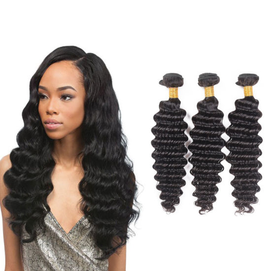 Brazilian Deep Wave 3 Bundles 100% Human Hair 10A Unprocessed Natural Color Brazilian Virgin Hair Extensions pictures & photos