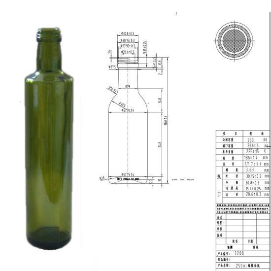 Wholesale Dark Green Dorica Glass Olive Oil Bottle 250ml /500ml/750, L/1L