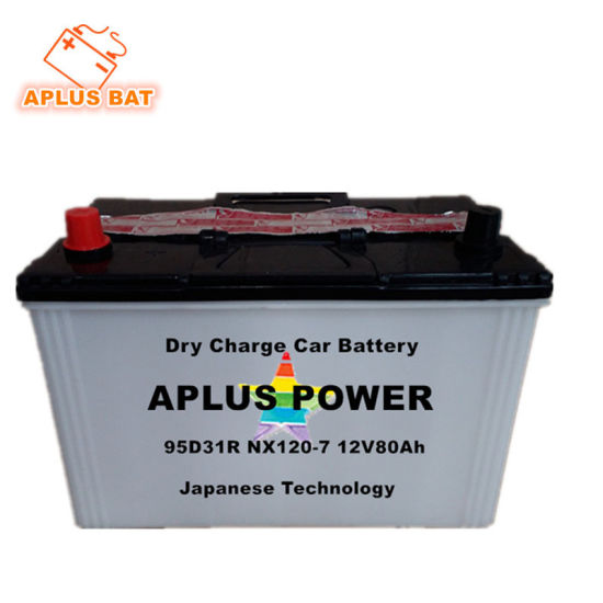 Rechargeable Lead Acid JIS Dry Charge Car Batteries 95D31r Nx120-7