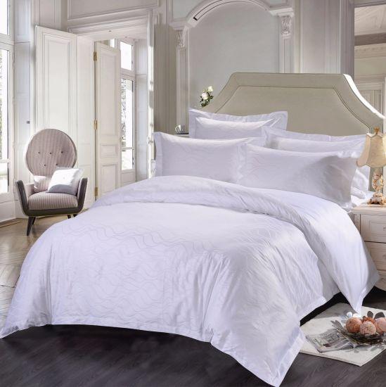Wholesale 100% Cotton Ripple Jacquard Sheet Sets Hotel Bedding Set Bed Linen