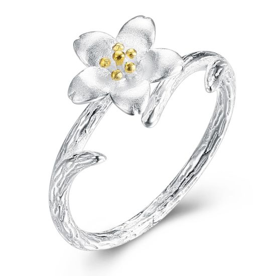 China 2018 Latest Design 925 Sterling Silver Flower Ring For Wedding