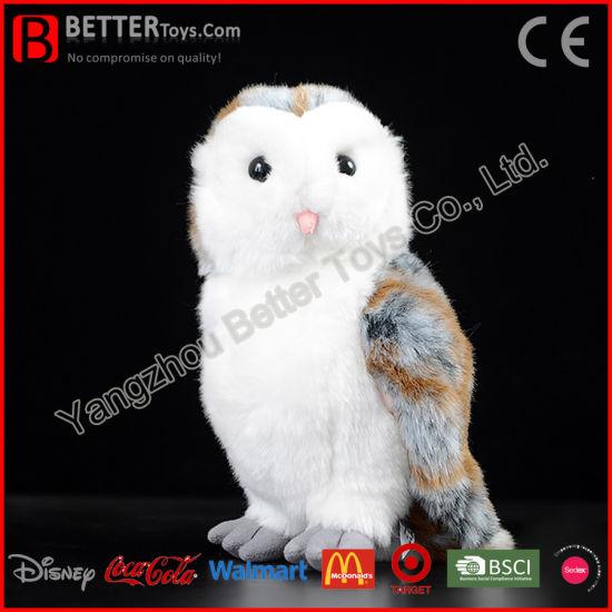 China Realistic Stuffed Toy Plush Lifelike Soft Western Barn Owl