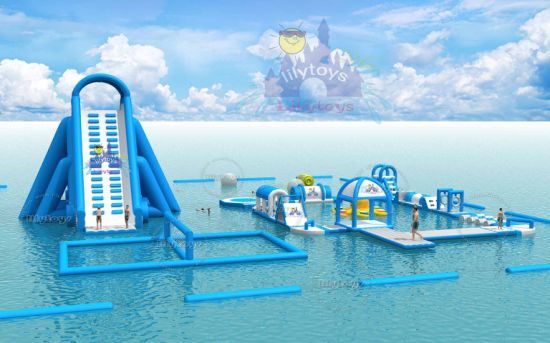New Design 0.9mm PVC Inflatable Water Park Games with Giant Slide pictures & photos