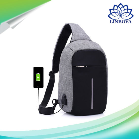 Fashion Outdoor Travel Sport Bag Polyester Crossbody Sling Shoulder Bag USB  Charging Anti Theft Backpack for Men School Bag 36efc6cb1a2ae